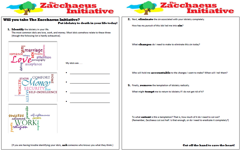 The Zacchaeus Initiative Worksheets